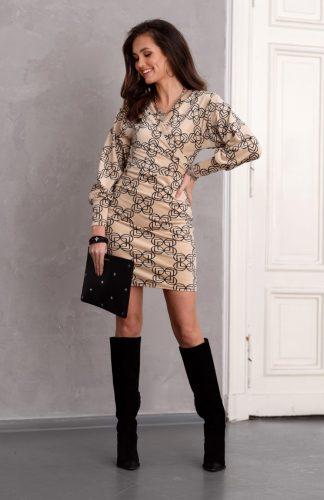 Sukienka ołówkowa kopertowa elegancka mini