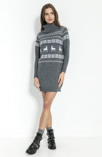 Sukienka świąteczna swetrowa z golfem grafitowa