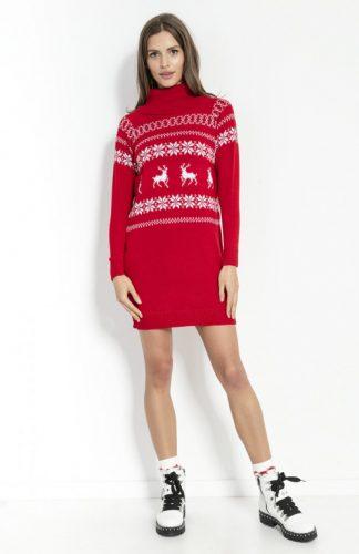 Sukienka świąteczna swetrowa z golfem czerwona