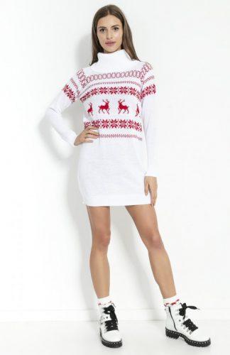 Sukienka świąteczna swetrowa z golfem biała