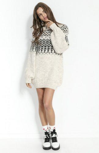 Sukienka świąteczna swetrowa z wełną beżowa