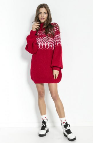 Sukienka świąteczna swetrowa z wełną czerwona