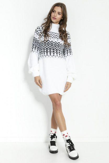 Sukienka świąteczna swetrowa z wełną biała