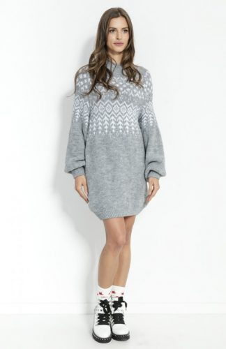 Sukienka świąteczna swetrowa z wełną szara