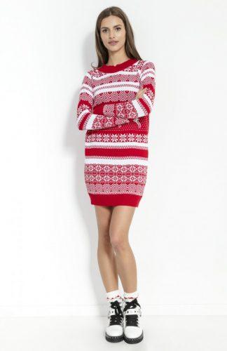 Sukienka świąteczna swetrowa czerwona