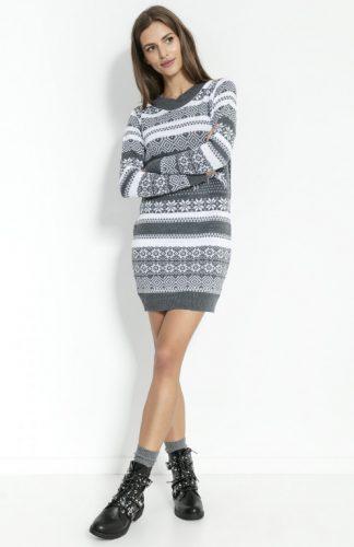 Sukienka świąteczna swetrowa grafitowa