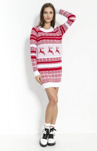 Sukienka świąteczna swetrowa biała