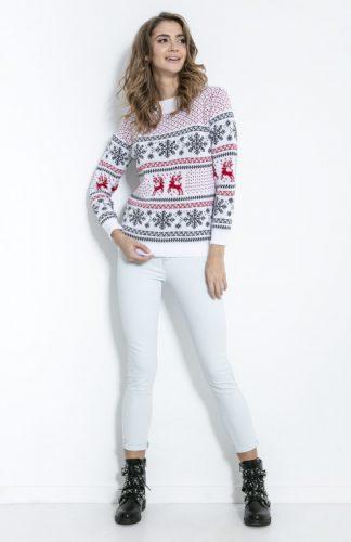 Sweter świąteczny biały w gwiazdki i renifery