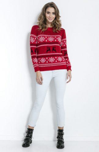 Sweter świąteczny czerwony w gwiazdki i renifery