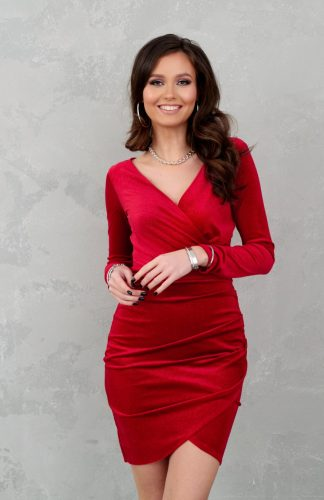 Sukienka welurowa kopertowa mini czerwona