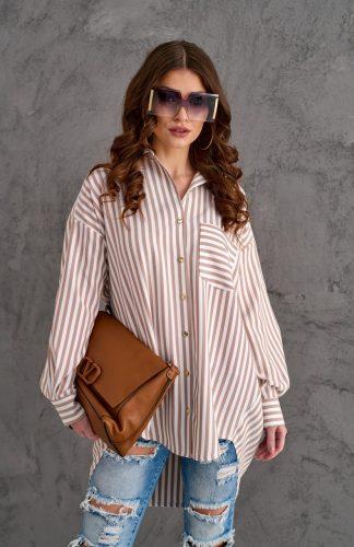 Koszula elegancka długa o luźnym kroju w paski