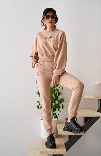 Komplet dresowy damski bawełniany beżowy