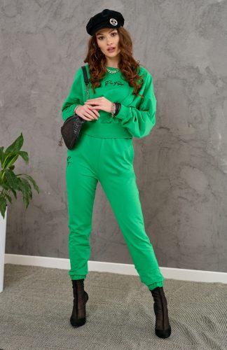 Komplet dresowy damski bawełniany zielony