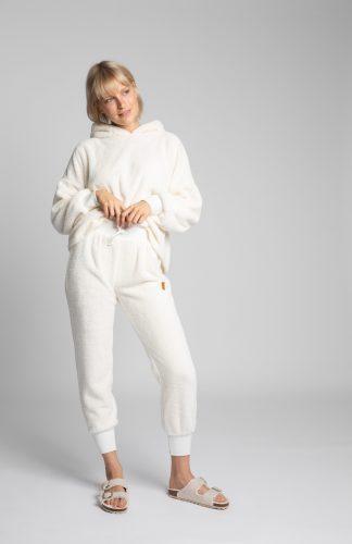 Spodnie joggery pluszowe ecru