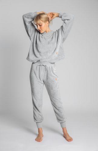 Spodnie joggery pluszowe popielate