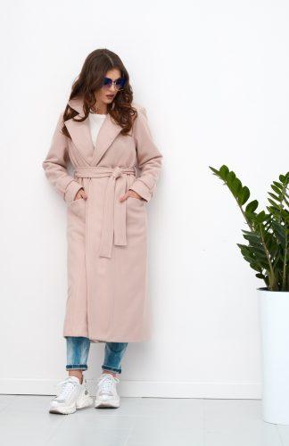 Płaszcz damski długi elegancki z paskiem