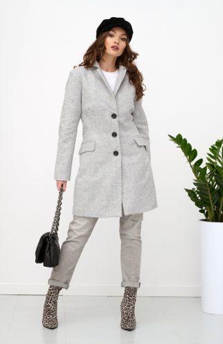 Płaszcz damski elegancki na guziki szary