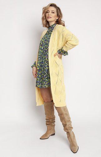 Kardigan długi ażurowy żółty