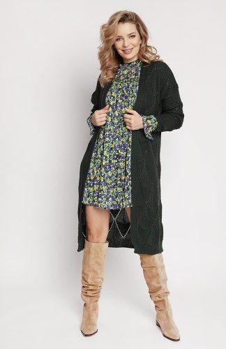Kardigan długi ażurowy zielony