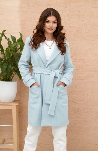 Płaszcz damski elegancki z paskiem błękitny
