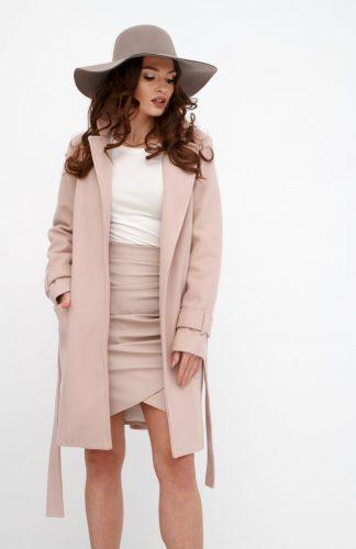 Płaszcz damski elegancki z paskiem