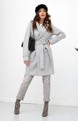 Płaszcz damski elegancki z paskiem szary