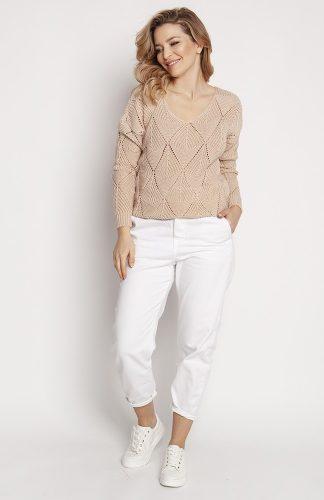 Sweter ażurowy z dekoltem w serek beżowy