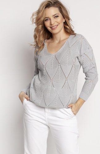Sweter ażurowy z dekoltem w serek szary