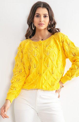 Sweter ażurowy zapinany na guziki żółty