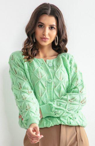 Sweter ażurowy zapinany na guziki zielony