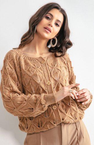 Sweter ażurowy zapinany na guziki karmelowy