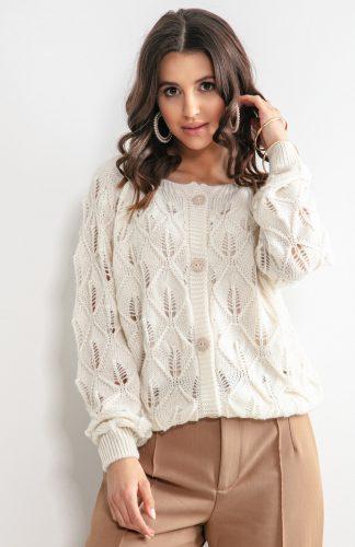 Sweter ażurowy zapinany na guziki ecru