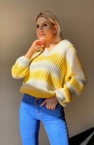 Sweter oversize kolorowy dekolt V
