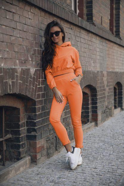 Komplet dresowy pomarańcz krótka bluza