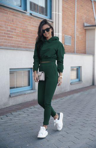 Komplet dresowy zielony krótka bluza