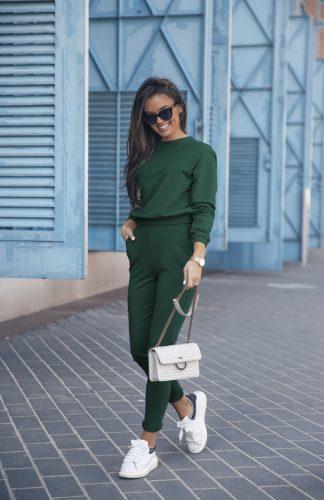 Komplet dresowy zielony z krótką bluzą