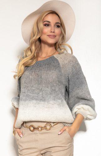 Sweter kolorowy na wiosnę z szerokimi rękawami