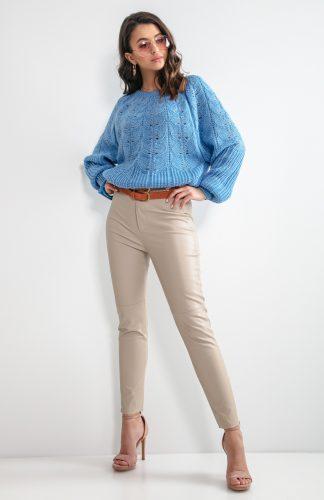 Sweter ażurowy krótki niebieski