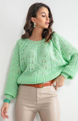 Sweter ażurowy krótki zielony