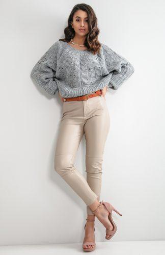 Sweter ażurowy krótki szary