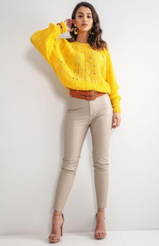 Sweter ażurowy krótki żółty