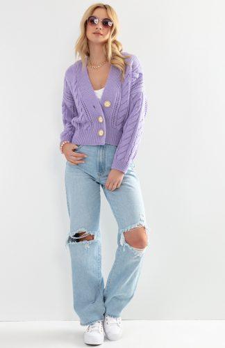 Kardigan na guziki klasyczny krótki fioletowy