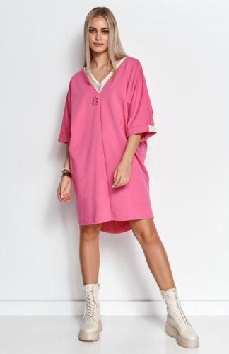 Sukienka dresowa oversize kimonowa amarantowa