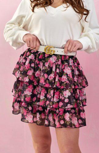 Spódnica szyfonowa mini w kwiaty z falbanami