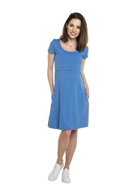 Sukienka ciążowa sportowa bawełniana niebieska