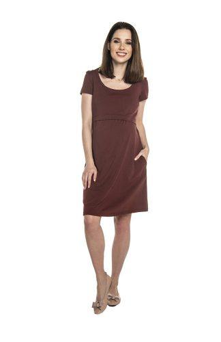 Sukienka ciążowa sportowa bawełniana burgundowa