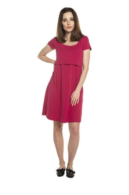 Sukienka ciążowa sportowa bawełniana malinowa