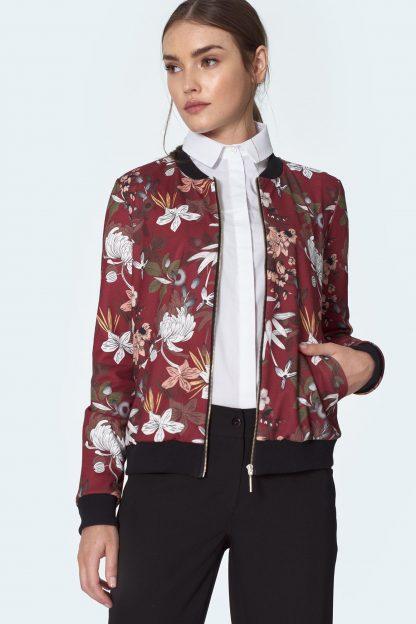 Bluza damska elegancka bomber w kwiaty