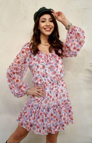 Sukienka szyfonowa mini z falbanami w kwiaty