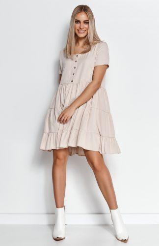 Zwiewna sukienka z falbanami jasny beż